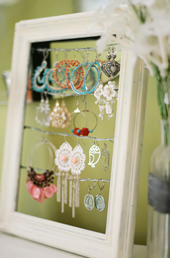 Picture Frame Earring Holder - Easy Do-it-Yourself Projects - Closet Tec Inc - Source [http://www.kevinandamanda.com/whatsnew/house-and-home/tutorial-shabby-chic-dangly-earring-display.html]