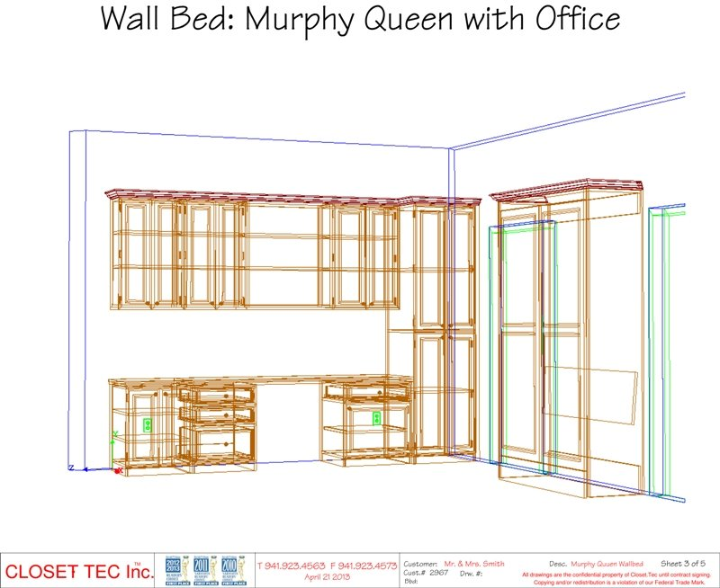 Murphy Wall Bed 3d Cad Design Closet Tec Inc
